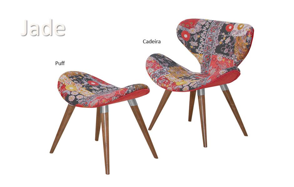 Cadeira e puff jade